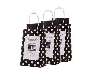 Personalised Black Polka Dot Hen Party Gift Bag- Empty x1