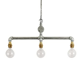 Industrial Steel Conduit Ceiling Hanging Pipe Light E27 Bar Pendant Light