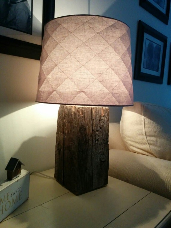 reclaimed barn wood beam table lamps by captaincol on etsy. Black Bedroom Furniture Sets. Home Design Ideas