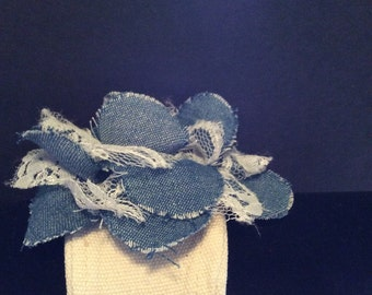 Denim/lace Cuff