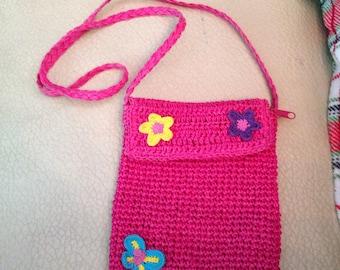 Pink Crochet Cross Body Mini Purse