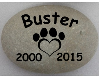 Custom Engraved Pet Memorial #3 - Engraved Rock, Stone, Dog, Cat, namesake, etched rock, etched stone, Sandblast