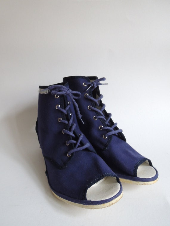 vintage canvas shoe borosana navy wedges open toe lace