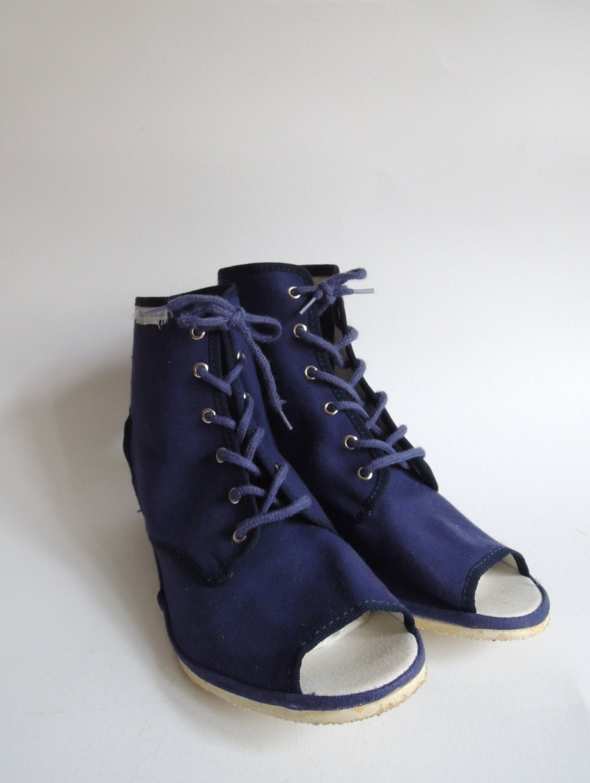 vintage canvas shoe borosana navy wedges open toe lace
