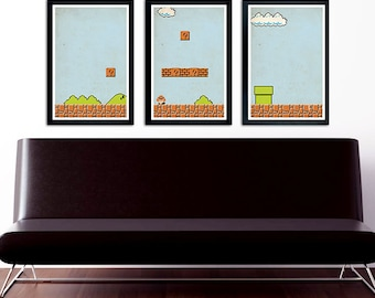 Mario Poster Set of 3 – wall decor 11 x 17 Nintendo
