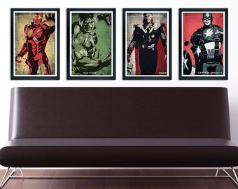 The Avengers Poster Set of 4 – wall decor 11 x 17 Ironman Hulk Thor Captain America