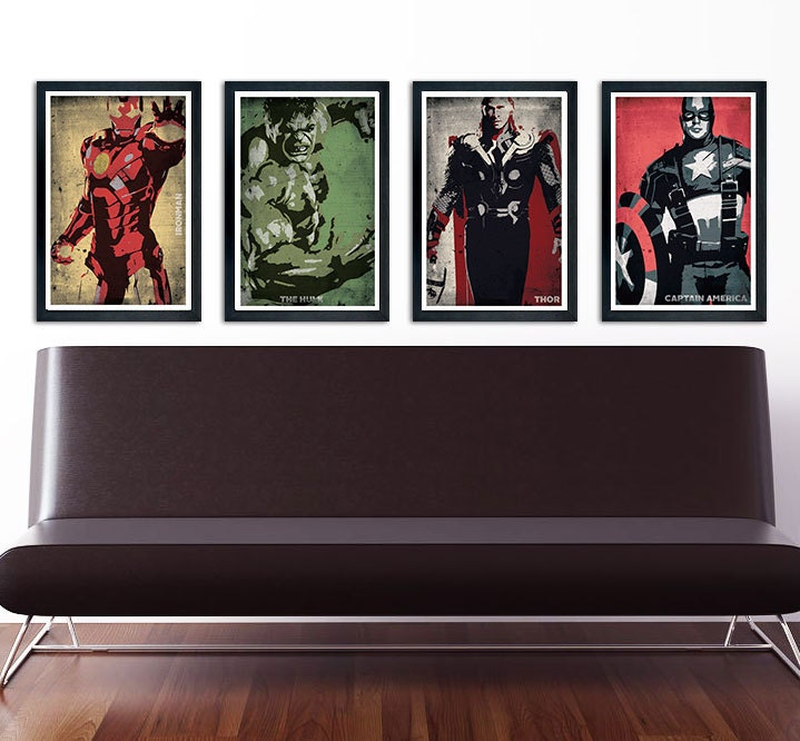 The Avengers Poster Set Of 4 Wall Decor 11 X 17 Ironman Hulk