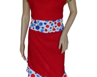 Apron Red White and Blue Patriotic USA/ Czech Kitchen Holiday/Polka Dot Apron/Bakeware Accessories