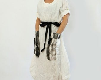 New collection/White linen dress/Maxi long dress/Oversize dress/Handmade dress/Linen dress/Big pockets/Loose tunic/Black and white/D1424