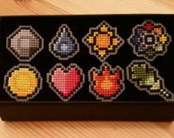 Pokemon Cross Stitch Pattern Kanto Badges