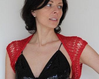 Women's hand knitted red shrug