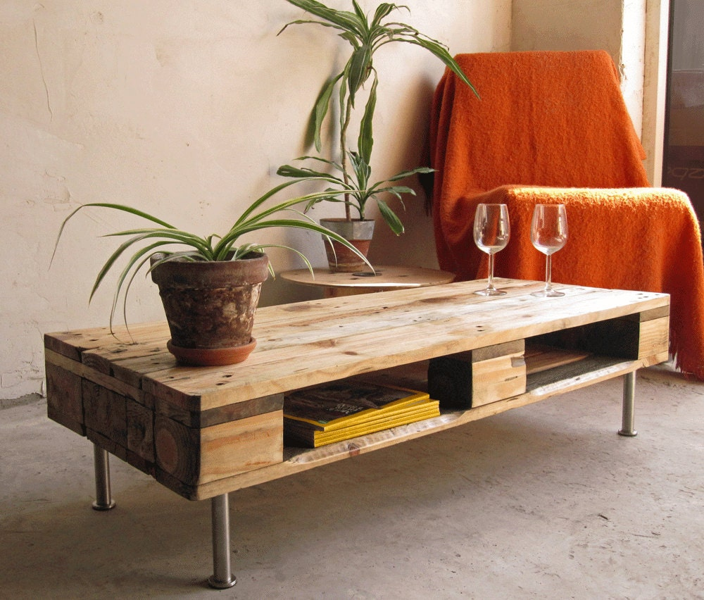 Reclaimed Rustic Industrial Low Side Table/ Coffee Table/ TV