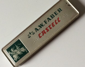 A.W. Faber  Castell Tin/German Pencil Tin/Vintage Pencil Tin/A.W. Faber Castell/Jousting Knights  Logo/Collectible Pencil Tin/Pencil Tins