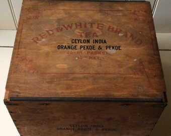 Antique Tea Chest-Red & White Brand Tea, London, England