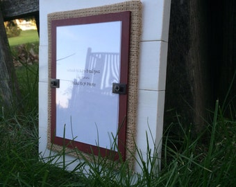 5x7 Wood Picture Frame Distressed with Burlap, White and Dark Red - Made to Order