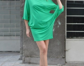 Plus Size Green Dress / Extravagant Cotton Tunic / Oversized Long Sleevesу / Green Loose Tunic by EUGfashion