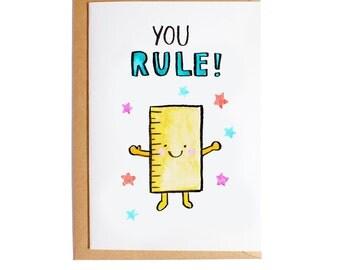 You Rule - A6 Blank Card - Watercolour - Pun