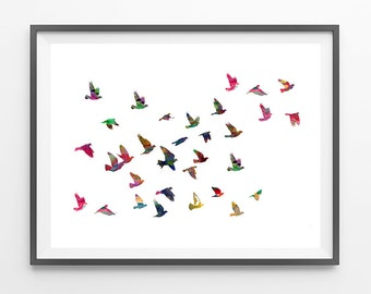 Flock of birds Watercolor Print Birds poster birds flocking illustration group of birds flying wall art print gift flock poster [NO 41]