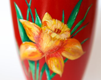 Flower pot with hand-painted narcissus, painted pot, plant pot, gardening gift