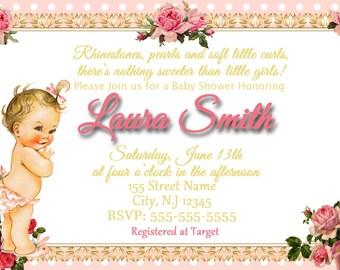 Vintage Baby Shower / Vintage Baby Girl / Vintage Invitation