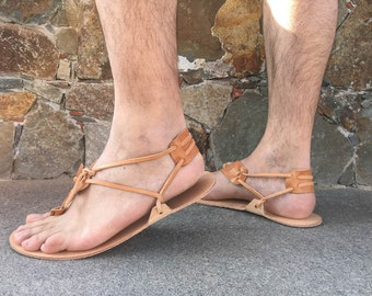 Barefoot Men Sandals - 100 % Genuine leather Barefoot Huarache sandals. running sandals, Free Shipping!