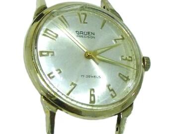 Vintage Gruen Precision 10k GF Mechanical Mens Watch Fancy Lugs Swiss