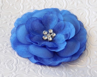 Formal Headwear,Blue silk flower/organza alligator hair-clip with multi rhinestone center, for Toddlers/Girls/Teens/Women.