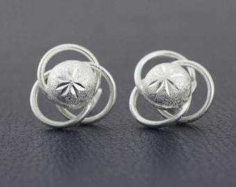 Atom Stud Earrings , Sterling Silver Atom Stud, Silver Atom Post  Earrings, Silver Earrings, Arete Atomo en Plata