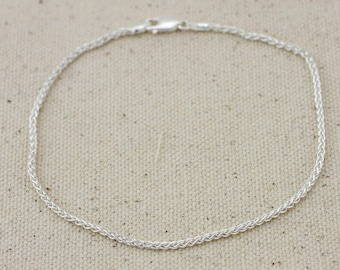 Anklet, Sterling Silver Chain Anklet, Silver Anklet, Spiga Chain Anklet, Beach Jewelry, Sterling Silver Anklet Plain , Summer jewelry