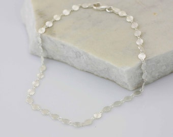 Sterling Silver Anklet, Diamond Disc Anklet, Silver Disc Anklet, Charm Anklet,  Sparkly Anklet, Beach Jewelry
