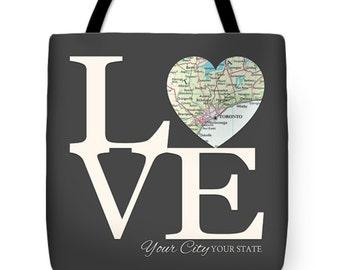 "Custom City State Love Map TOTE BAG 16""x16"", Customized shopping bag messenger, beach bag tote gift, travel, beach, Christmas, gift"