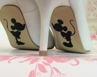 mickey and minnie mouse disney wedding day bride shoe sole vinyl decals stickers marriage gift happy