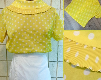 Yellow with white polka dot boxy style 60's blouse, shirt, top