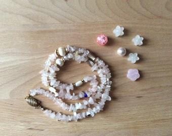 Rose Quartz necklace, gemstone necklace, Pearl necklace, necklace, vintage necklace minerals, female, boho chic necklace