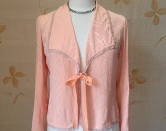 1930s vintage peach silk satin jacket
