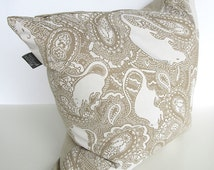 Cushion pillow LARGE - parchment colour paisley rats - hand made in UK