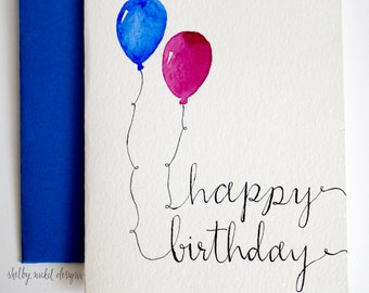 Watercolor Card, Happy Birthday card, Two Balloon card, Birthday party, Card for Birthday, Handmade Happy Birthday Card, Greeting Card