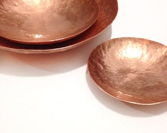 Copper Dish - Shallow Bowl / Vessel, Hand forged -100mm, 150mm, 200mm