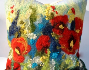 Felted decorative pillowcase /Summer poppies / Pillows / Handmade pillow cover / Wool pillows / Painted wool/ Free shipping.