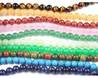 100 round beads Mix of stones semi precious 8mm