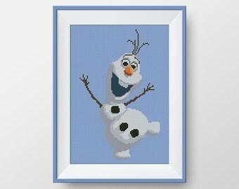 BUY 2, GET 1 FREE! Olaf cross stitch pattern, Olaf. Frozen, Instant Download, Disney cross stitch pattern, pdf counted cross stitch, #P109