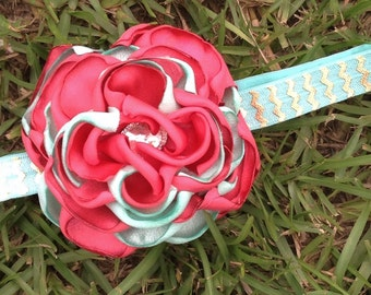 Coral and mint headband