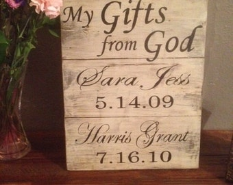 Distressed wood family sign gifts from God, personalized sign, family sign, gifts from God