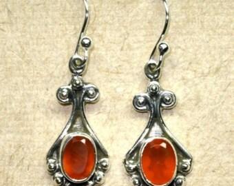 Sterling Silver Natural Carnelian Stone Dangle Earrings - Sterling Silver Earrings - Gemstone Earrings - CARNELIAN - Natural Stone