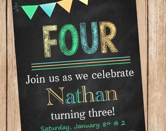 Boy Chalkbaord Birthday Invitation