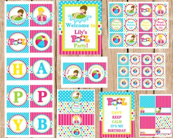 Girl Pool Party Package, DIY, Printable Party