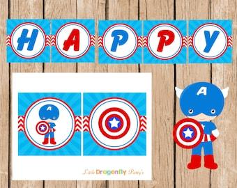 Captain American Happy Birthday Banner, Instant Download