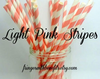 LIGHT PINK STRIPES Straws / Pink Straws / Party Straws / Striped Straws / Paper Straws / Girl Straws / Party Supplies / Lemonade / Straws