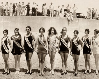 "34"" Long 1927 Bathing Beauties Reproduction Panoramic Galveston TX Pageant of Pulchritude"