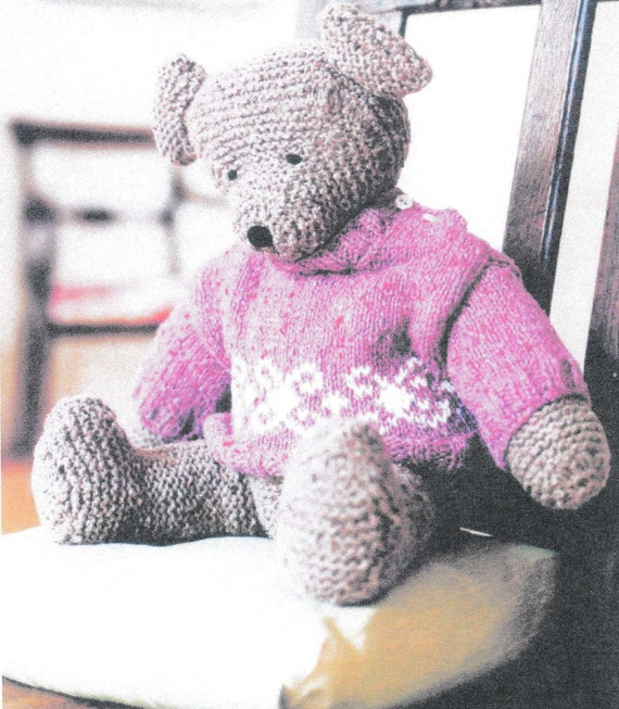 Funny Knitting Patterns : Pdf funny bear knitting pattern rare retro doll toy